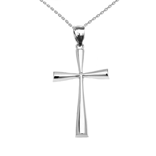 White Gold Dainty Cross Pendant Necklace