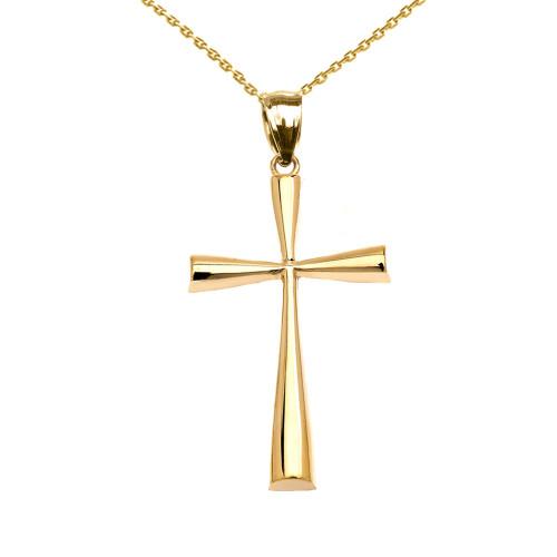 Yellow Gold Beautiful Cross Pendant Necklace
