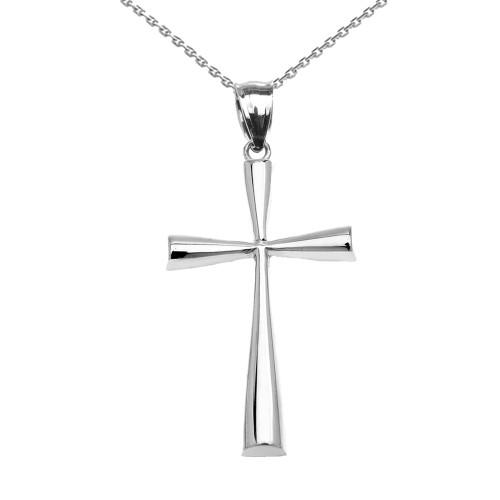 White Gold Beautiful Cross Pendant Necklace