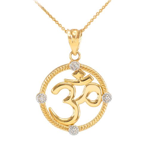 "Gold Roped Circle Diamond Hindu Meditation Charm Yoga ""Om"" (Aum) Pendant Necklace"