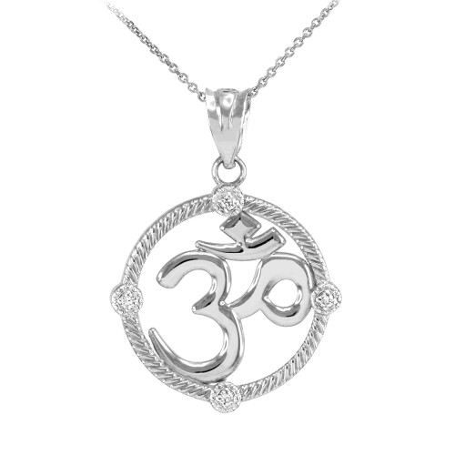 """White Gold Roped Circle Diamond Hindu Meditation Charm Yoga """"Om"""" (Aum) Pendant Necklace"""