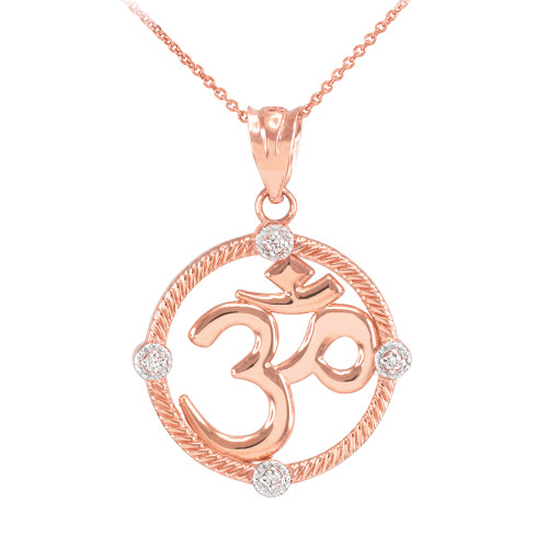 "Rose Gold Roped Circle Diamond Hindu Meditation Charm Yoga ""Om"" (Aum) Pendant Necklace"