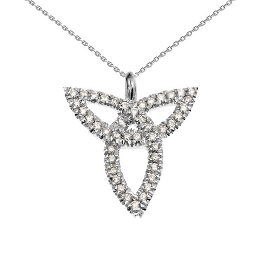 14K White Gold Celtic Trinity Diamond Pendant Necklace