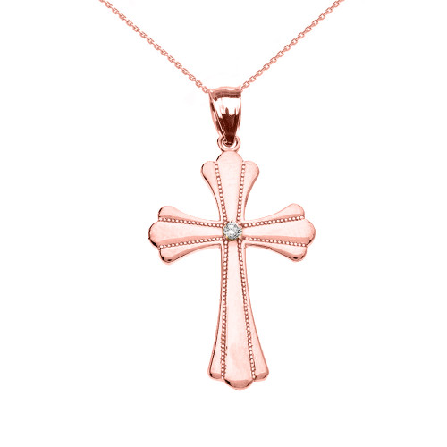 Rose Gold Solitaire Diamond High Polish Milgrain Cross Pendant Necklace