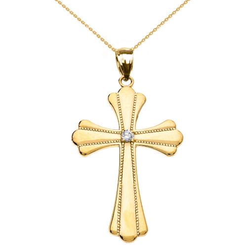 Yellow Gold Solitaire Diamond High Polish Milgrain Cross Pendant Necklace (Medium)