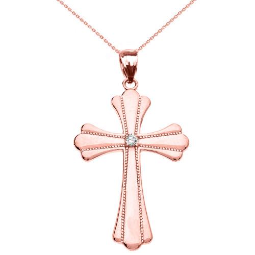 Rose Gold Solitaire Diamond High Polish Milgrain Cross Pendant Necklace (Medium)