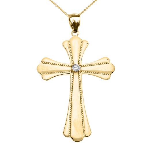 Yellow Gold Solitaire Diamond High Polish Milgrain Cross Pendant Necklace (Large)