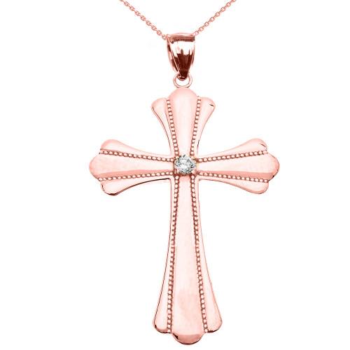 Rose Gold Solitaire Diamond High Polish Milgrain Cross Pendant Necklace (Large)