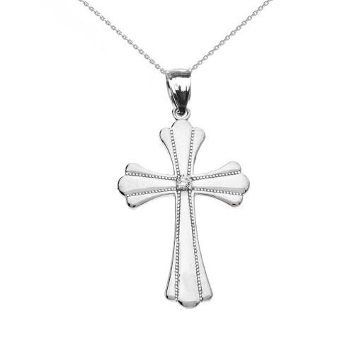 White Gold Solitaire Cubic Zirconia High Polish Milgrain Cross Pendant Necklace