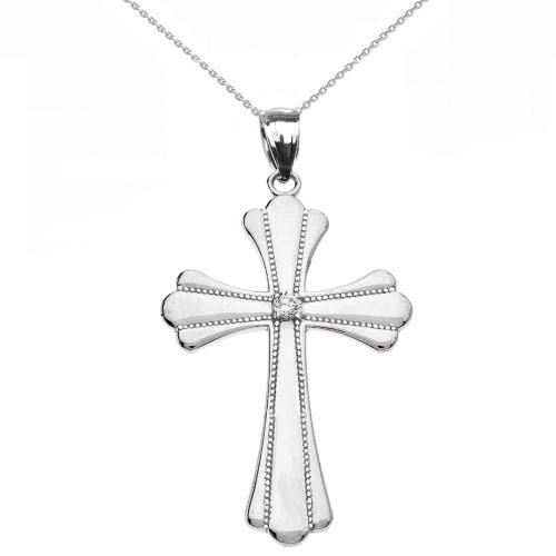 White  Gold Solitaire Cubic Zirconia High Polish Milgrain Cross Pendant Necklace (Medium)