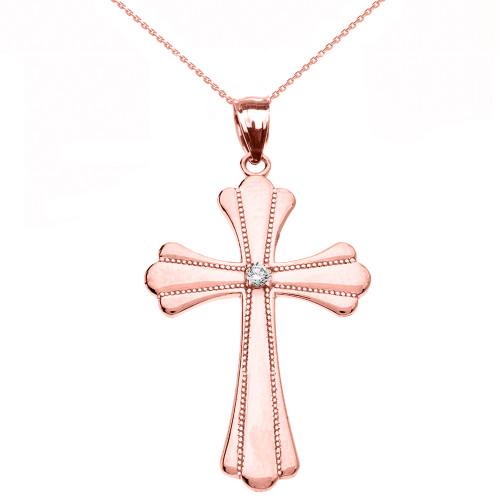 Rose Gold Solitaire Cubic Zirconia High Polish Milgrain Cross Pendant Necklace (Medium)