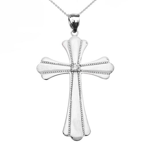 White Gold Solitaire Cubic Zirconia High Polish Milgrain Cross Pendant Necklace (Large)
