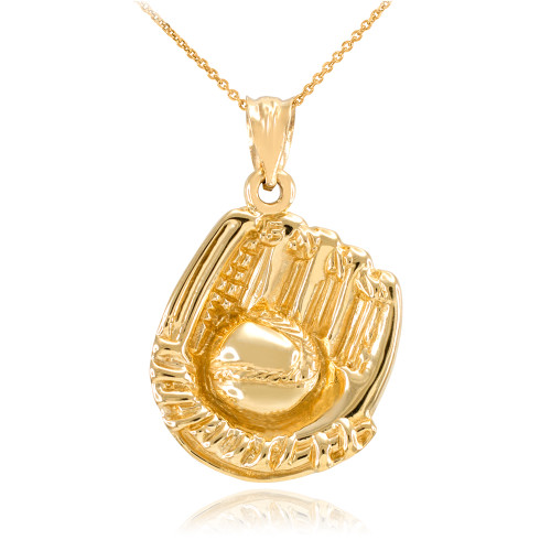 Gold Baseball Catcher Glove Pendant Necklace