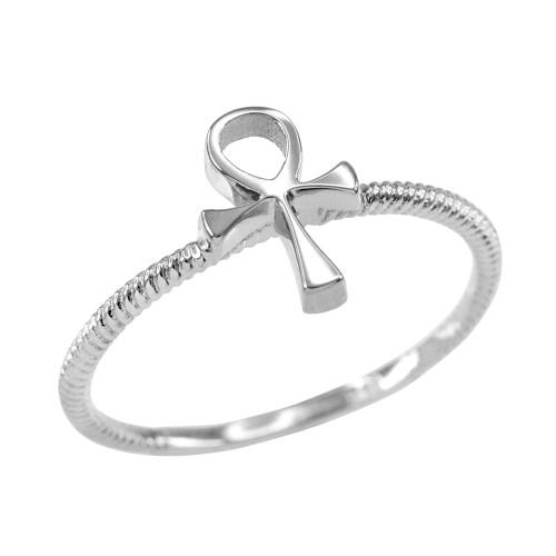 Dainty White Gold Egyptian Ankh Cross Ring
