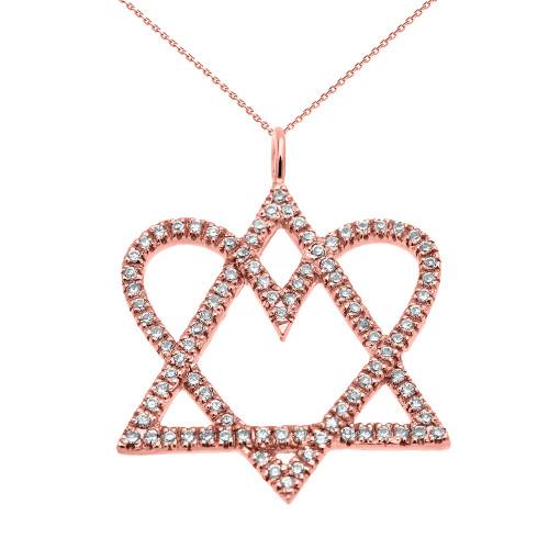 14K Rose Gold Star of David Pendant Love Heart Diamond Pendant Necklace