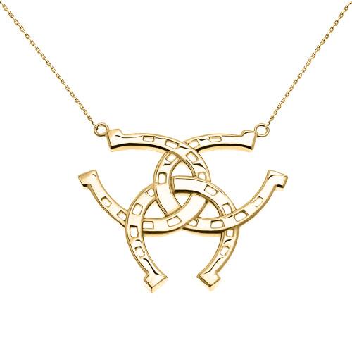Yellow Gold Criss Cross Triple Horse Shoe Good luck Pedant Necklace