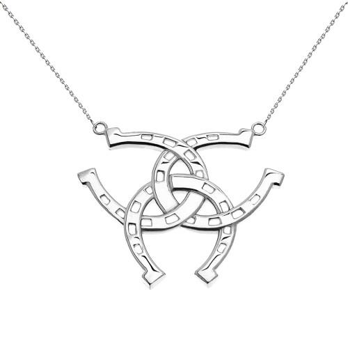 White Gold Criss Cross Triple Horse Shoe Good luck Pedant Necklace