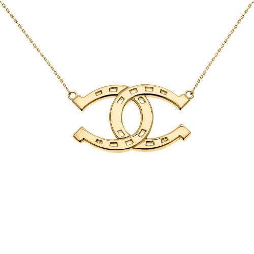 Yellow Gold Criss Cross Horse Shoe Good luck Necklace