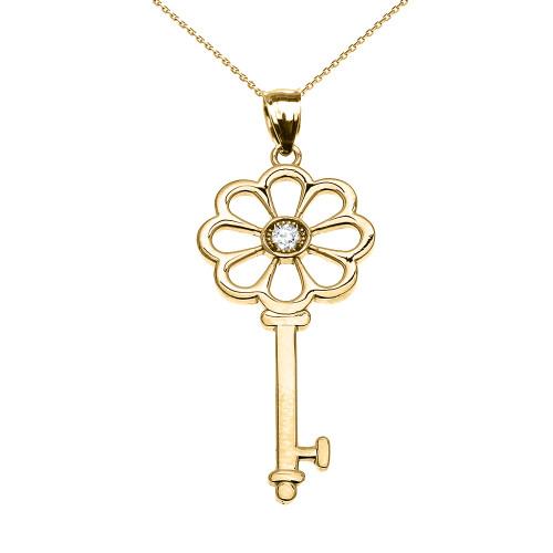 Yellow Gold Solitaire Diamond Flower Key Pendant Necklace