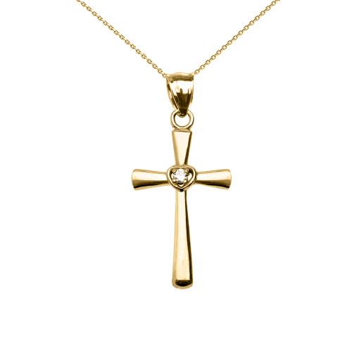 Yellow Gold Solitaire Diamond Heart  Cross Pendant Necklace