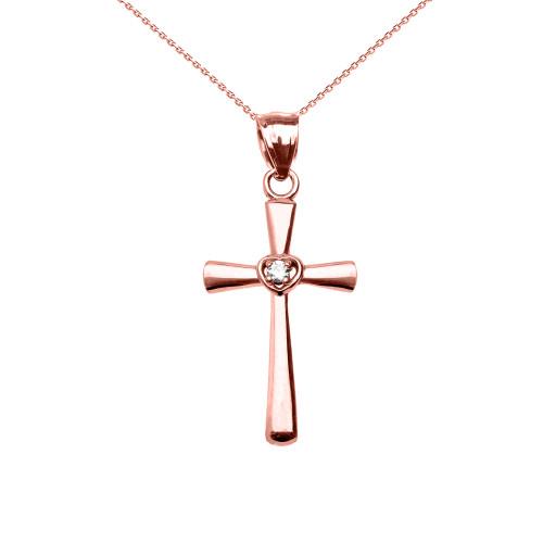 Rose Gold Solitaire Diamond Heart  Cross Pendant Necklace