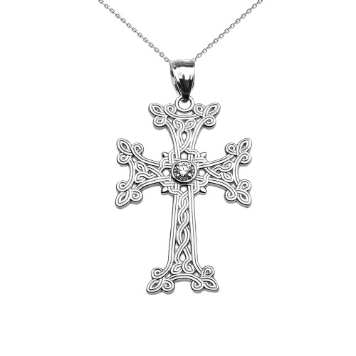 White Gold Armenian Cross Solitaire Cubic Zirconia Pendant Necklace