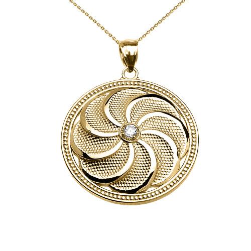 Yellow Gold Shield Armenian Eternity Diamond Pendant Necklace