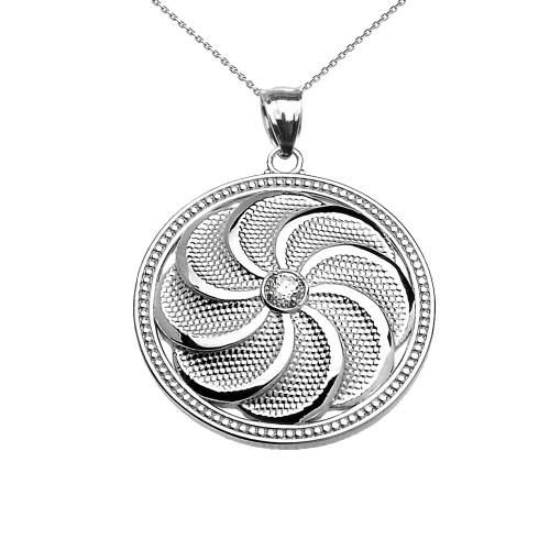 Sterling Silver Shield Armenian Eternity Diamond Pendant Necklace