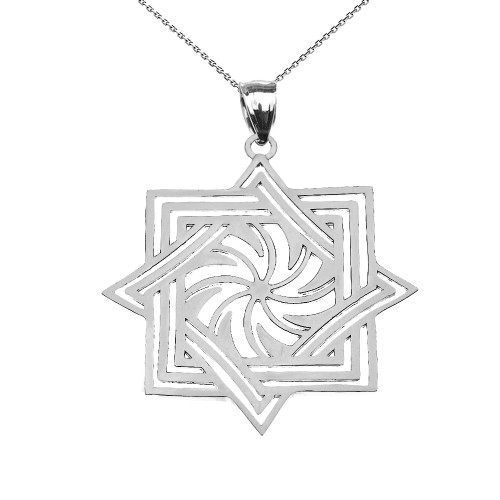 White Gold Armenian Eternity Pendant Necklace