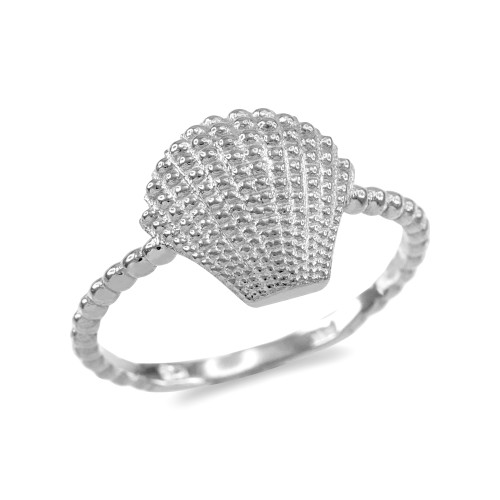 Fine Sterling Silver Beaded Band Seashell Ring