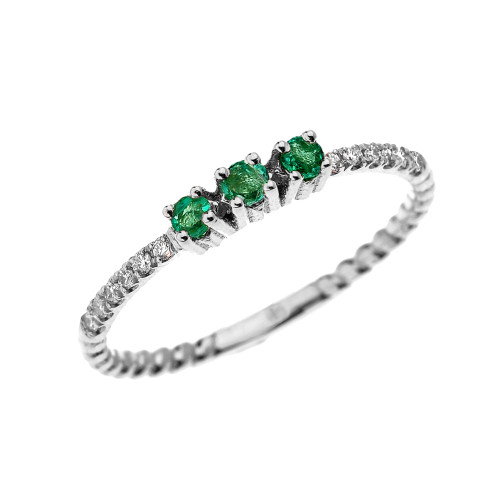 White Gold Dainty Three Stone Emerald and Diamond Rope Design Engagement/Proposal/Stackable Ring