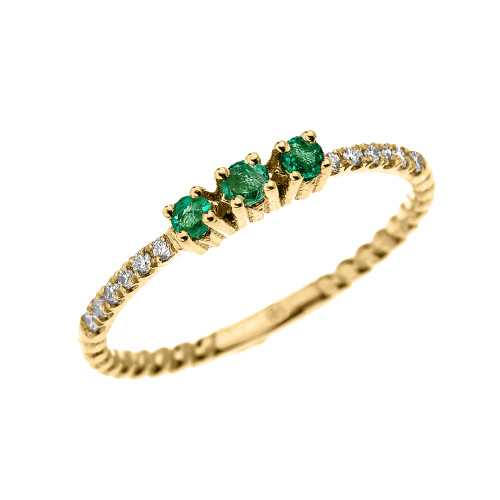 Yellow Gold Dainty Three Stone Emerald and Diamond Rope Design Engagement/Proposal/Stackable Ring
