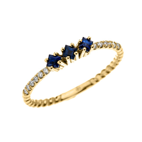 Yellow Gold Dainty Three Stone Sapphire and Diamond Rope Design Engagement/Stackable Ring