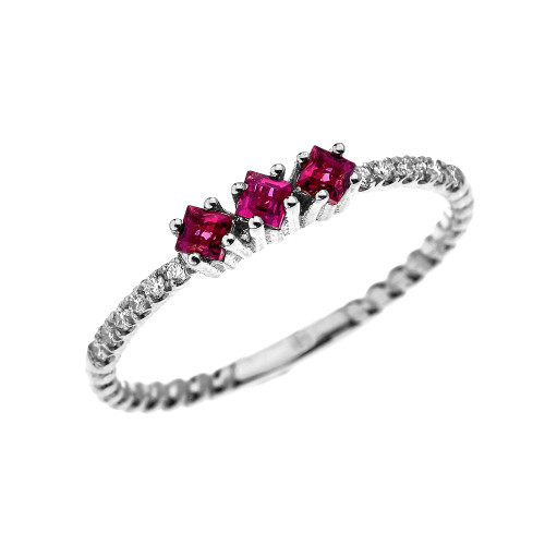 White Gold Dainty Three Stone Ruby and Diamond Rope Design Engagement/Proposal/Stackable Ring