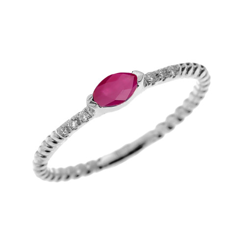 White Gold Dainty Solitaire Marquise Ruby and Diamond Rope Design Engagement/Proposal/Stackable Ring