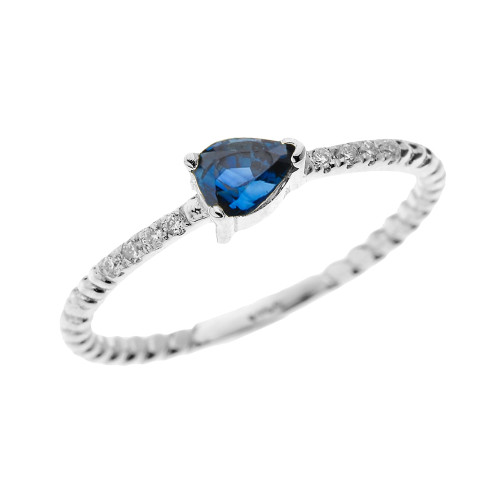 White Gold Dainty Solitaire Pear Shape Sapphire and Diamond Rope Design Engagement/Proposal/Stackable Ring