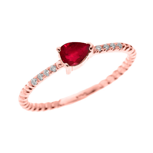 Rose Gold Dainty Solitaire Pear Shape Ruby and Diamond Rope Design Engagement/Proposal/Stackable Ring