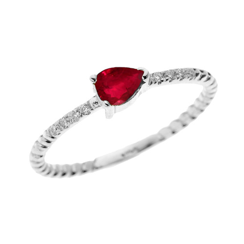 White Gold Dainty Solitaire Pear Shape Ruby and Diamond Rope Design Engagement/Proposal/Stackable Ring