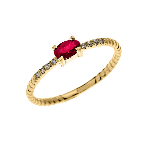 Yellow Gold Dainty Solitaire Oval Ruby and Diamond Rope Design Engagement/Proposal/Stackable Ring