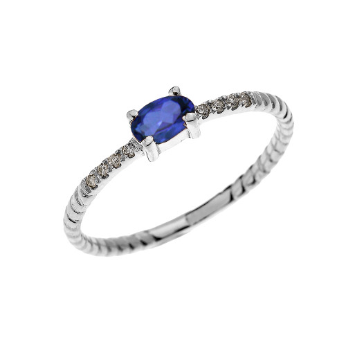 White Gold Dainty Solitaire Oval Sapphire and Diamond Rope Design Engagement/Proposal/Stackable Ring