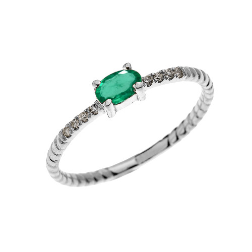 White Gold Dainty Solitaire Oval Emerald and Diamond Rope Design Engagement/Proposal/Stackable Ring