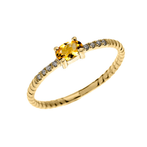 Yellow Gold Dainty Solitaire Oval Citrine and Diamond Rope Design Engagement/Proposal/Stackable Ring