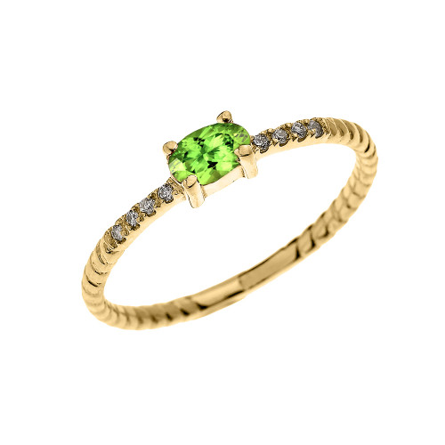 Yellow Gold Dainty Solitaire Oval Peridot and Diamond Rope Design Engagement/Proposal/Stackable Ring