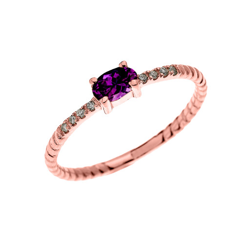 Rose Gold Dainty Solitaire Oval Amethyst and Diamond Rope Design Engagement/Proposal/Stackable Ring