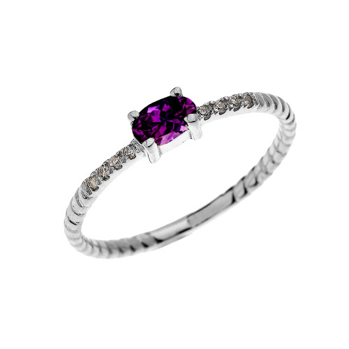 White Gold Dainty Solitaire Oval Amethyst and Diamond Rope Design Engagement/Proposal/Stackable Ring