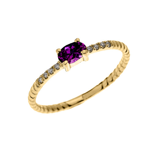 Yellow Gold Dainty Solitaire Oval Amethyst and Diamond Rope Design Engagement/Proposal/Stackable Ring