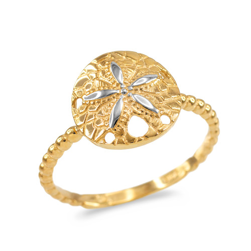Two-Tone White and Yellow Gold Beaded Band Sand Dollar Ring