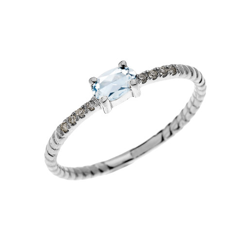 White Gold Dainty Solitaire Oval Aquamarine and Diamond Rope Design Engagement/Proposal/Stackable Ring