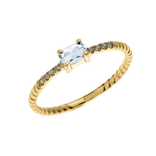 Yellow Gold Dainty Solitaire Oval Aquamarine and Diamond Rope Design Engagement/Proposal/Stackable Ring
