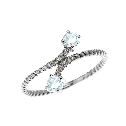White Gold Dainty Two Stone Aquamarine and Diamond Rope Design Promise Ring
